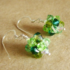 Crystal Ball Earrings green mix