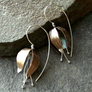 Flower Bud Earrings in brass