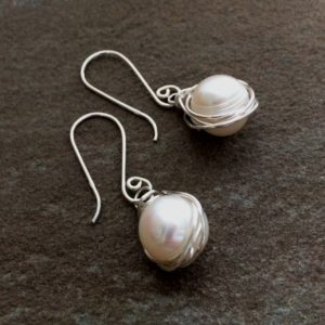 Pearl Nest Earrings by AnneMade Jewelry